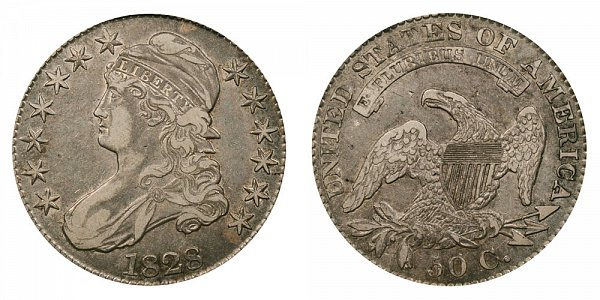 1828 Capped Bust Half Dollar - Square Base 2 - Small 8s - Small Letters