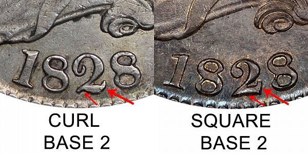 1828 Curl Base 2 vs Square Base 2 Capped Bust Half Dollar - Difference and Comparison