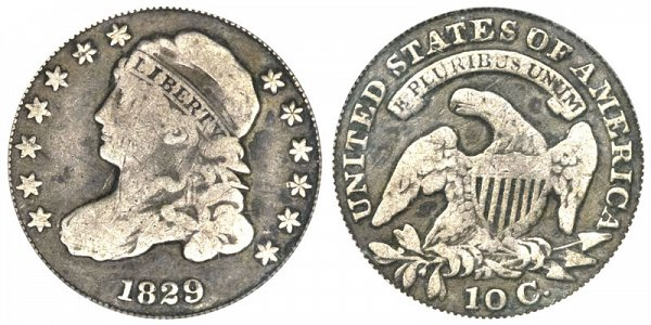1829 Curl Base 2 Capped Bust Dime