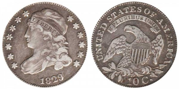 1829 Extra Large 10C Capped Bust Dime