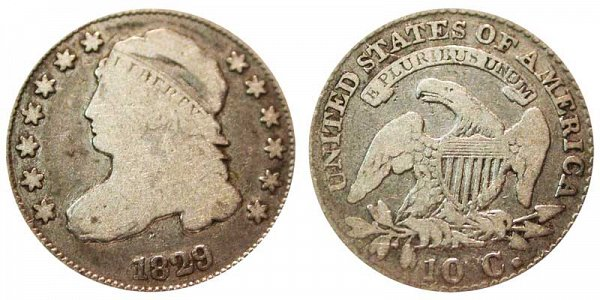 1829 Large 10C Capped Bust Dime