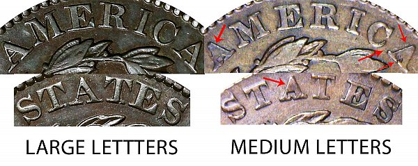 1829 Large Letters vs Medium Letters Coronet Head Large Cent - Difference and Comparison