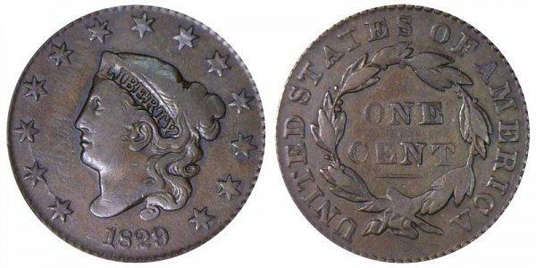 1829 Coronet Head Large Cent Penny - Medium Letters
