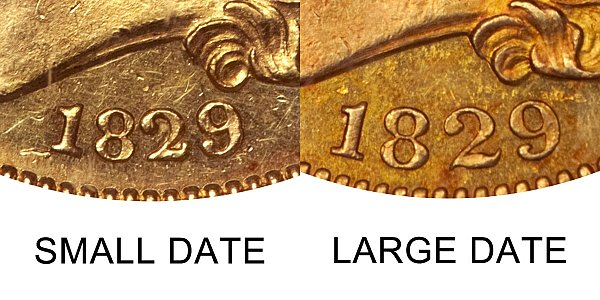 1829 Small Date vs Large Date - $5 Capped Bust Gold Half Eagle - Difference and Comparison