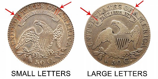 1829 Small Letters vs Large Letters Capped Bust Half Dollar - Difference and Comparison