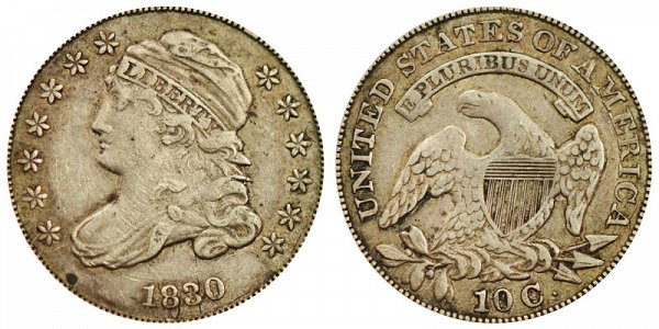 1830 Large 10C Capped Bust Dime