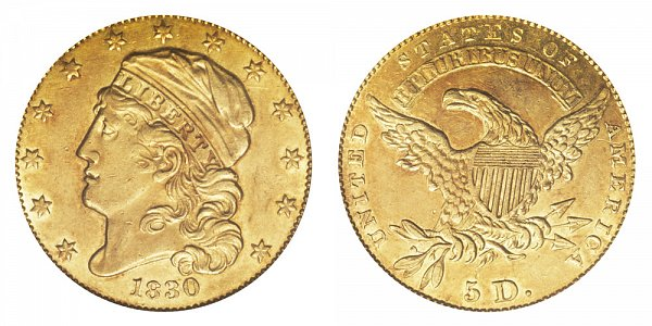 1830 Large 5D - $5 Capped Bust Gold Half Eagle