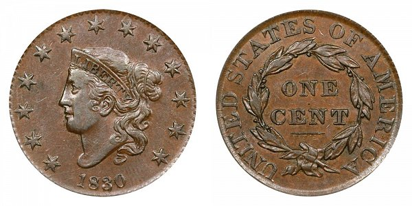 1830 Coronet Head Large Cent Penny - Large Letters