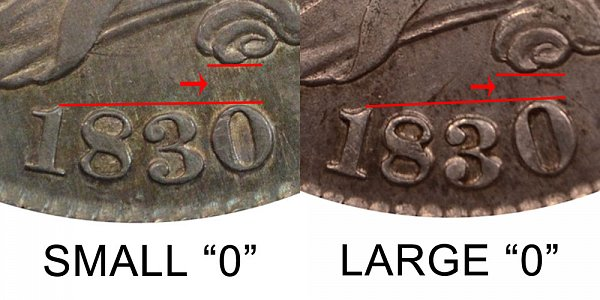 1830 Small 0 vs Large 0 Capped Bust Half Dollar - Difference and Comparison