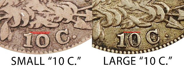 1830 Small 10C vs Large 10C Capped Bust Dime - Difference and Comparison