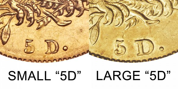 1830 Small 5D vs Large 5D - $5 Capped Bust Gold Half Eagle - Difference and Comparison