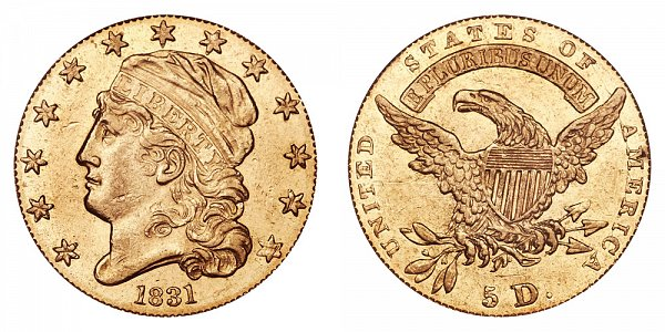 1831 Large 5D - $5 Capped Bust Gold Half Eagle