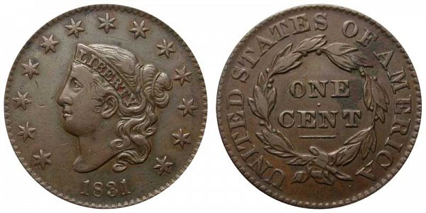 1831 Coronet Head Large Cent Penny - Large Letters