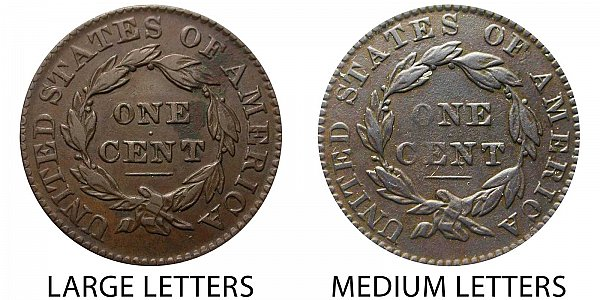 1831 Large Letters vs Medium Letters Coronet Head Large Cent - Difference and Comparison