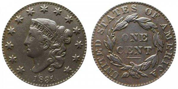 1831 Coronet Head Large Cent Penny - Medium Letters