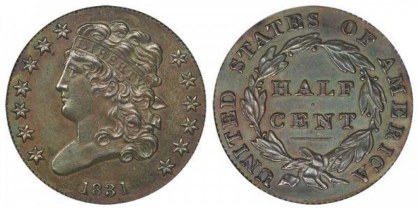 1831 Classic Head Half Cent Penny - Original Strike