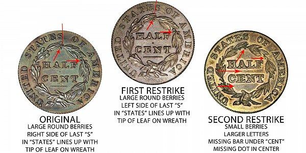 1831 Original vs First Restrike vs Second Restrike Classic Head Half Cent - Difference and Comparison