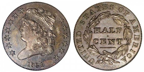 1831 Classic Head Half Cent Penny - Restrike Reverse of 1836