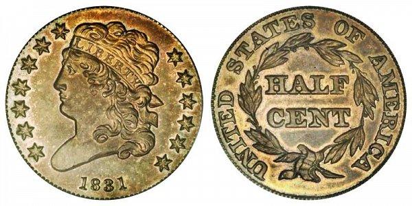 1831 Classic Head Half Cent Penny - Restrike Reverse of 1840