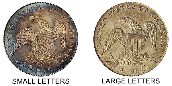 1831 Capped Bust Quarter - Small Letters vs Large Letters - Difference and Comparison
