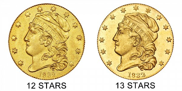 1832 12 Stars vs 13 Stars - $5 Capped Bust Gold Half Eagle - Difference and Comparison