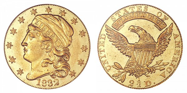 1832 Capped Bust $2.50 Gold Quarter Eagle - 2 1/2 Dollars