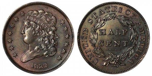 1832 Classic Head Half Cent Penny
