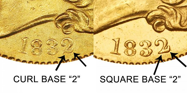 1832 Curl Base 2 vs Square Base 2 - $5 Capped Bust Gold Half Eagle - Difference and Comparison