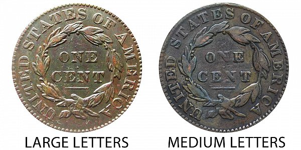 1832 Large Letters vs Medium Letters Coronet Head Large Cent - Difference and Comparison
