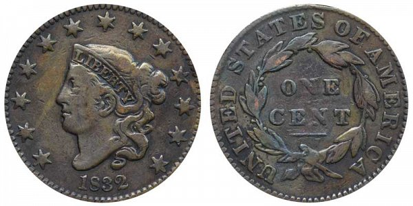 1832 Coronet Head Large Cent Penny - Medium Letters