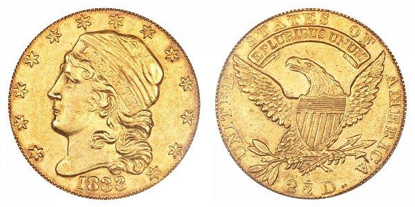 1833 Capped Bust $2.50 Gold Quarter Eagle - 2 1/2 Dollars