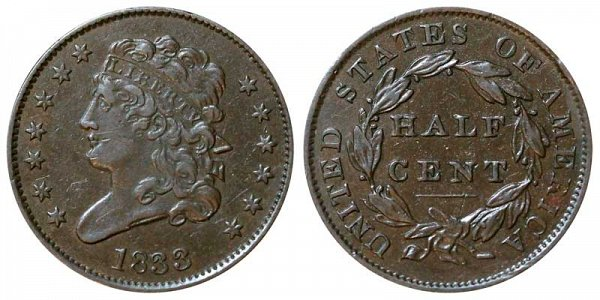 1833 Classic Head Half Cent Penny