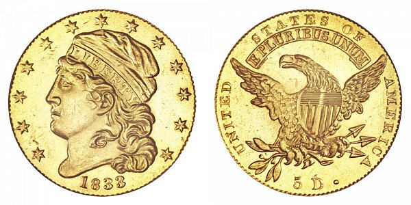 1833 Large Date - Capped Bust $5 Gold Half Eagle - Five Dollars
