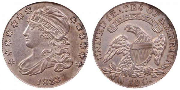 1833 Capped Bust Dime - Last 3 High