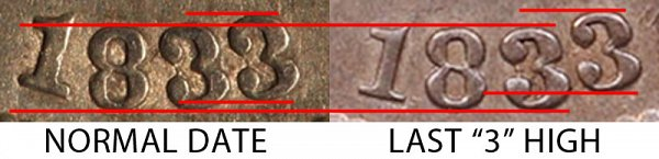1833 Last 3 High vs Normal Date Capped Bust Dime - Difference and Comparison