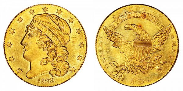 1833 Small Date - Capped Bust $5 Gold Half Eagle - Five Dollars