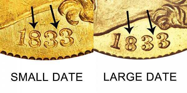 1833 Small Date vs Large Date - $5 Capped Bust Gold Half Eagle - Difference and Comparison