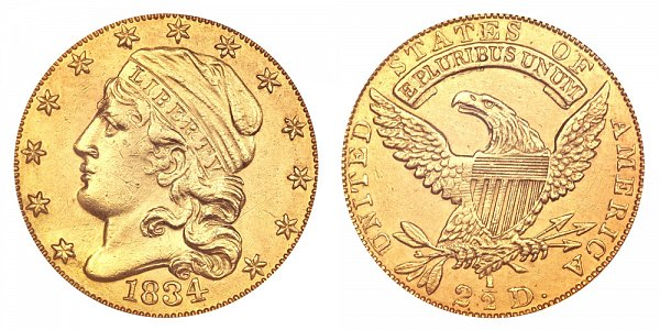 1834 Capped Bust $2.50 Gold Quarter Eagle - 2 1/2 Dollars