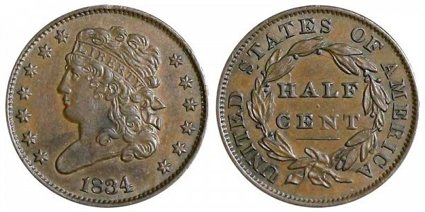 1834 Classic Head Half Cent Penny