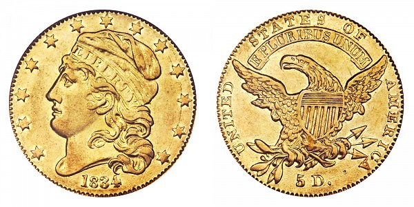 1834 Capped Bust $5 Gold Half Eagle - Crosslet 4 - Five Dollars