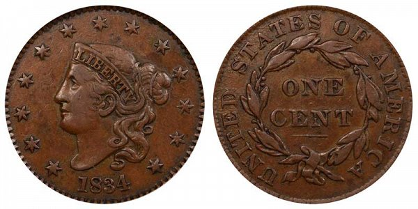 1834 Coronet Head Large Cent Penny - Large 8 - Small Stars - Medium Letters