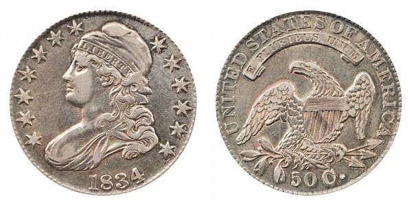 1834 Capped Bust Half Dollar - Large Date - Large Letters