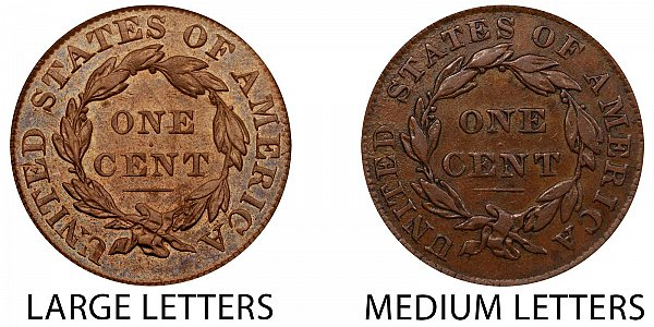 1834 Large Letters vs Medium Letters Coronet Head Large Cent - Difference and Comparison