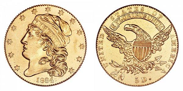 1834 Capped Bust $5 Gold Half Eagle - Plain 4 - Five Dollars
