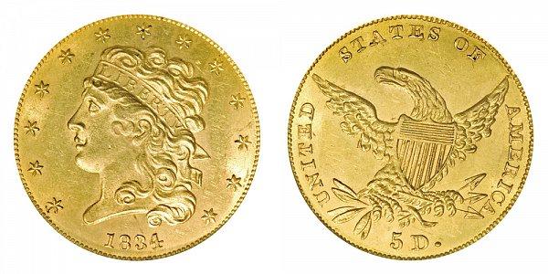 1834 Classic Head $5 Gold Half Eagle - Plain 4 - Five Dollars