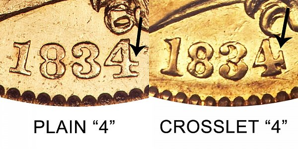 1834 Plain 4 vs Crosslet 4 - $5 Capped Bust Gold Half Eagle - Difference and Comparison