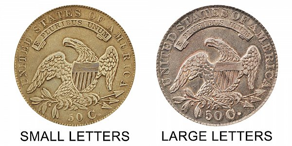 1834 Small Letters vs Large Letters Capped Bust Half Dollar - Difference and Comparison