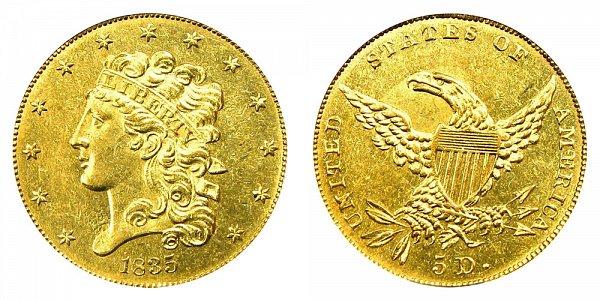 1835 Classic Head $5 Gold Half Eagle