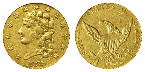 1835 Classic Head $2.50 Gold Quarter Eagle - 2 1/2 Dollars