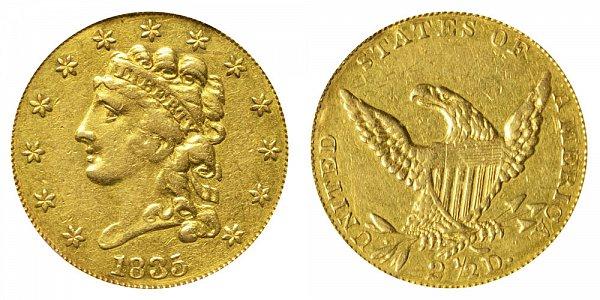 1835 Classic Head $2.50 Gold Quarter Eagle - 2 1/2 Dollars